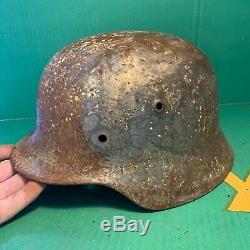 Incroyable Ww2 Armée M40 Casque Allemand Semi Relic Normandie