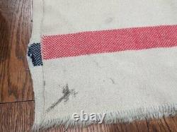 Laine Originale De L'armée Allemande Wwii Blanket Bleu/rouge Rayé Wehrmacht Heer As-is