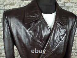 Le Manteau De Moto XL Vintage En Cuir Allemand De 1940 Ww2