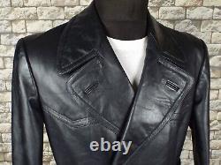 Lebesto 1940's German Leather Coat M Vintage Motorycle Military Pardessus Ww2