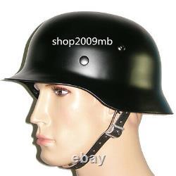 M35 M1935 Casque En Acier Rétro Armée Brillante Noir Ww2 Armée Allemande Elite