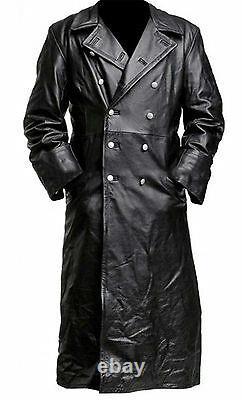 Mens German Classic Trench Coat Ww2 Military Officer Uniforme Manteau En Cuir Noir