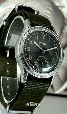 Montre-bracelet Ultra Rare Armée Allemande Militaire Minerva Ww2 Wehrmacht Dienstuhr 2wk