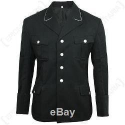 Officiers De L'armée Allemande Gabardine Laine Noire Tunique Ww2 Repro Elite M32 Manteau Nouveau