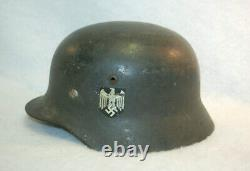 Original Allemand Wwii Army Heer M40 Named Single Eagle Decal Helmet Q64 M4746