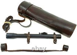 Original Vintage Sniper Rifle Scope Ajack 2.5x52 Wwi Wwii German Army Mount Bag