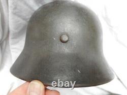 Original Ww2 Armée Allemande En Acier M40 Autocollant Combat Helmet Enlevé Et64 Authentique
