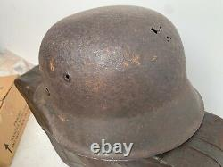 Original Ww2 German Army Barn Find M42 Casque Allemand & Liner Taille 66