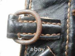 Original Ww2 German Army Élite Wss Black Leather Combat Pouch