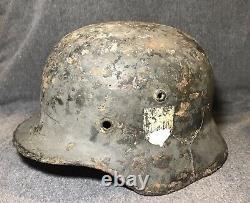 Original Wwii Allemand M35 Heer Army Helmet Ef62 Relic Eastern Front