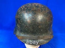 Original Wwii Armée Allemande M35 DD Stahlhelm Casque De Combat 1940 Réédition Vet Item