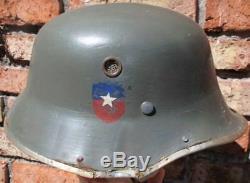 Pré II Du Chili Armée Ww Vulkanfiber M 35 Parade Allemande Drgm Officier 1933 Casque