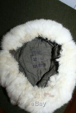 Rare Originale Ww2 Armée Allemande Temps Froid Blanc Champ De Fourrure De Lapin Chapeau, 43 D