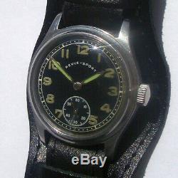 Rare Période Army Watch Militaire Allemand Ww2 Dh Sport Revue Acier