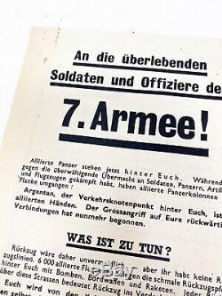 Rare Seconde Guerre Mondiale Parachutés Surrender Dépliant 7ème Armée Bataille Allemande De Bulge Ww2 Relic