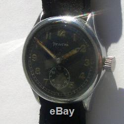 Rare Wristwatch Armée Allemande Helvetia Dh De La Période Ww2