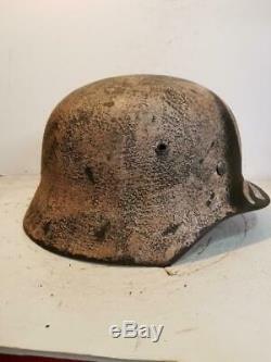 Seconde Guerre Mondiale Allemande A Publié M35 Armée Finlandaise Peinte À La Main Et Casque Camo Ans