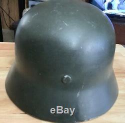 Seconde Guerre Mondiale Armée Allemande M35 Acier Combat Helmet Withliner & Jugulaire Original