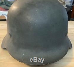 Seconde Guerre Mondiale Armée Allemande M42 Guerre Tard En Acier No Decal Casques Withliner Original Pre1945