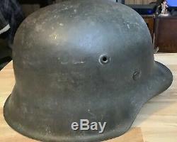Seconde Guerre Mondiale Armée Allemande M42 Nd Acier Combat Helmet Withliner & Jugulaire Original