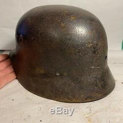 Superbe Squashed! Armée Allemande Ww2 Relic M40 Casque Récupéré En Normandie