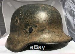 Très Belle Ww2 Allemand M1940 Casque Camo Dak Tropical Armée Sd, Se64, Nr Lot. 446