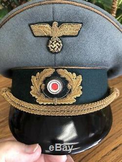 Uniforme Militaire Allemand Ww2 Chapeau Général De L'armée D'or Insignia Bullion 100% Taille Originale 57