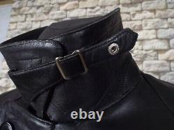 Veste En Cuir Allemand Des Années 1940 L Black Vintage Police Kriegsmarine Pea Coat Ww2