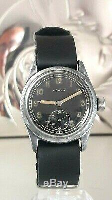 Vintage Rare Ww2 Militaire Armée Allemande Wehrmacht Dh Swiss Watch Buren Grand Prix