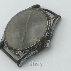 Vintage Swiss Watch Helvetia Dh Mechanical Black Ww2 Military German Army Repair