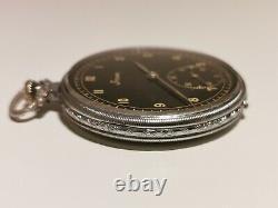 Vintage Ww2 German Army Military Men's Open Face Pocket Watch Stowa/black Dial