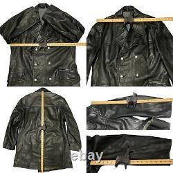 Vintage Ww2 Officiers Allemands Horsehide Leather Pea Coat Jacket Black 52 42 23.5