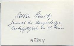 Walter Wenck Guerre Mondiale Général Allemand II 12 Commandant De L'armée Autograph''rare '