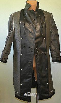 Wehrmacht Vintage Ww2 Officier De L'armée Allemande Veste Longue En Cuir Noir Plus Manteau