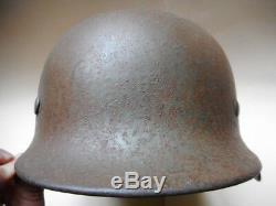 Wh Ww2 Originale Armée Allemande Heer M35 M 35 3 Couleur Casques Normandy Camo Véritable