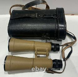 Ww II Armée Allemande 10x50 Bmj Binoculars & Cas 1944 Grande Condition