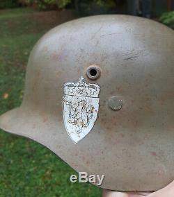 Ww II Hongroise Fait Allemand Stahlhelm Combat Casque Pour La Norvège Armée Rare Norge