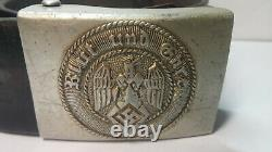 Ww2 Allemand. Boucle De Ceinture Et Ceinture 1938-1945, Boucle Pour Hitler Yout. Blut Und Ehre