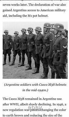 Ww2 Allemand Casco M38 Argentine Parade Casque Amérique Du Sud Armée Argentienne