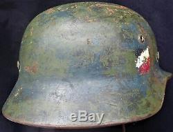Ww2 Allemand Modèle 1935 Double Decal Heer Armée Casque Et68 Grande Taille Jugulaire