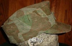 Ww2 Originale Armée Allemande Splinter Camo Elite Uniforme Chapeau Pas De Casque Insignes