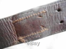 Ww2 Originale Armée Allemande / Wss / Luftwaffe Cuir Noir Combat Équipement De Ceinture