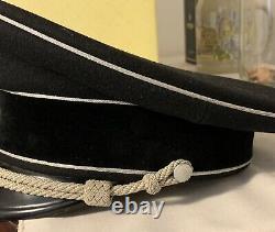 Ww2 Wwii Armée Allemande Elite Officier Wool Crusher Visière Chapeau Officier Noir Original